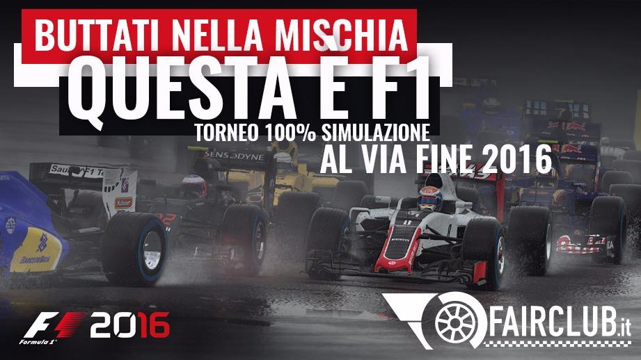 Campionato F1 2016 PS4 -Secondo campionato multi giocatore di fairclub.it per gli utenti PS4