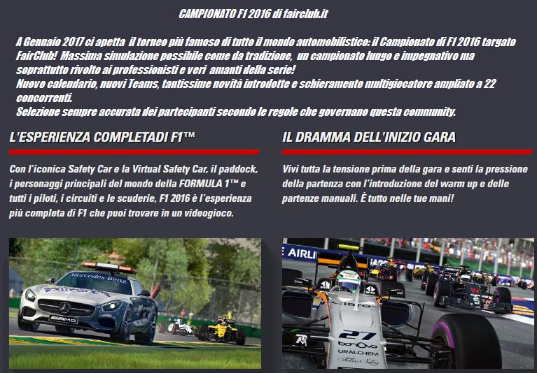 Campionato F1 2016 PS4 -Secondo campionato multi giocatore di fairclub.it per gli utenti PS4-00